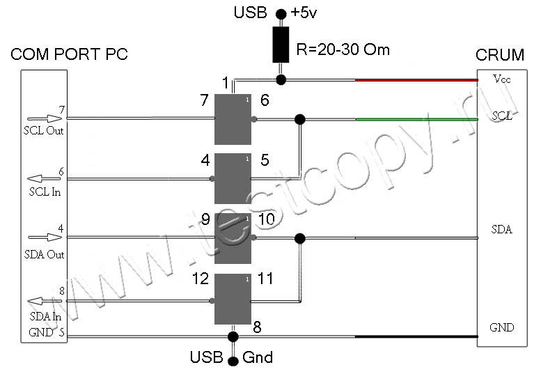 программатор с токоограничительным резистором